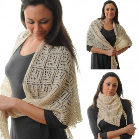 Breipatroon triangle kant shawl