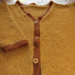 Handgebreid dames vest 100% scheerwol, lang, maat L