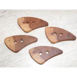 Appelhouten handgemaakte knopen, 5 x 2.5, 0.5 dik. Knopen worden van gedroogd hout gezaagd, geschuurd afgewerkt met was en olie